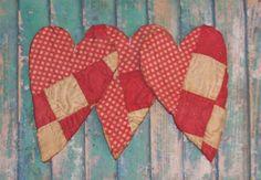 Primitive red & white #Valentine #Hearts. Handmade by PrairiePrimitives on Etsy.