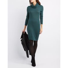 Charlotte Russe Ribbed Cowl Neck Sweater Dress (37 BAM) ❤ liked on Polyvore featuring dresses, ponderosa pine, ribbed knit sweater dress, long sleeve cowl neck dress, rib knit dress, long sleeve sweater dress and long-sleeve sweater dresses