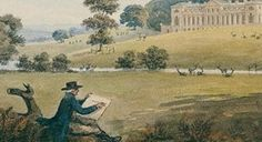 A watercolour showing Humphry Repton designing at Woburn in 1805.