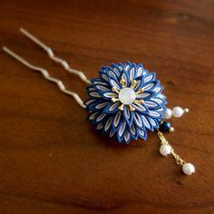 碧|「花小紋」つまみ細工 かんざし 和 簪 髪飾り