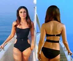 In Kambakht Ishq Kareena Kapoor showed us how a one-piece swimsuit can be sexy and classy too! With a fuller body this time.    Lingerie Police Says: ♥ the one-piece! And Kareena's attitude too!    One-piece swimsuit verdict: We think it's a tie!