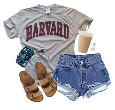 A fashion look from July 2016 featuring short denim shorts, evening sandals and brown glasses. Browse and shop related looks. Cute Lazy Outfits, Teenage Outfits, Cute Outfits For School, Teen Girl Outfits, Sporty Outfits, Teen Fashion Outfits, Athletic Outfits, Outfits For Teens, Trendy Outfits