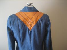 1970's DENIM JACKET with leather trim by yellowjacketvintage, $45.00