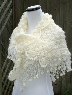 White Shawl, Crochet Wrap. Inspiration - should be fairly simple, some puff stitches, a simple fan edging on the long edge, solomons knots and clover stitches on the triangular edges!!