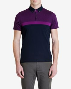 Printed panel polo shirt - Navy | Tops & T-shirts | Ted Baker UK