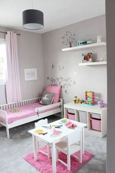 Cute Room Ideas For Young Girls Chambre fillette rose et grise The post Cute Room Ideas For Young Girls appeared first on Toddlers Diy. Baby Bedroom, Baby Room Decor, Bedroom Decor, Bedroom Curtains, Bedroom Girls, Girl Rooms, Trendy Bedroom, Girl Nursery, Nursery Ideas