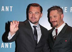 Leonardo DiCaprio and Tom Hardy attend the UK Premiere of 'The Revenant' at the Empire Leicester Square on January 14 2016 in London England