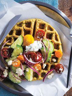 Falafel Waffles with Mediterranean Salad