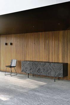 Teak Graphic Sideboard in Various Sizes Wood Slat Wall, Wood Slats, Wood Paneling, Slow Design, Black Sideboard, Wood Sideboard, Credenza, Dream House Exterior, Burke Decor