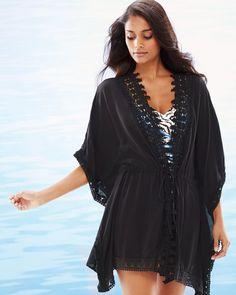 Costa Brava Crochet Trim Kimono Swim Cover Up Black - Soma Kimono Swim Cover Up, Kimono Fashion, Fashion Outfits, Crochet Cover Up, Buy Bra, Swim Skirt, One Piece Suit, Crochet Trim, Swimsuits
