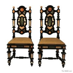 Pair of Italian baroque-style side chairs, c. 1850.