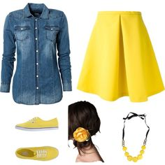 A girly outfit with Vans to add some attitude to the outfit. A statement necklace to add some pop, and a messy hairdo with a petite flower to give an innocent impression. This outfit reveals some personality and gives the room some color. :)