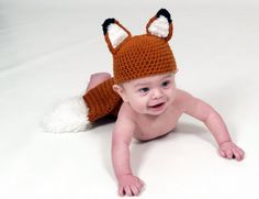 Crochet Fox hat and diaper cover for baby photo prop.