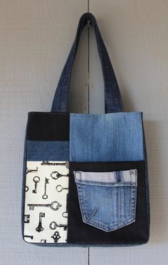 Vintage Style Key Canvas and Denim Patch Tote with Front Pockets and Two Interior Pockets by AllintheJeans on Etsy