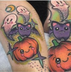 Tattoo done by artist Lindsee Boyer halloween tattoo 1 Tattoo, Piercing Tattoo, Body Art Tattoos, New Tattoos, Sleeve Tattoos, Cool Tattoos, Tattoo Roses, Tattoo Blog, Cute Halloween Tattoos