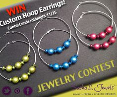 JEWELRY CONTEST- NAME THESE HOOPS!    WIN a pair of these new handmade metallic bead hoops!    REPLY/COMMENT a suggested name for these earrings, winner will receive a free pair in color choice & revealed name in our boutique!    *U.S. shipping only