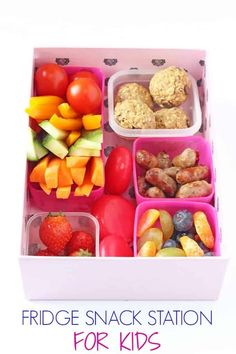 If your kids are constantly asking you to fetch them snacks, try making a snack station in the fridge filled with lots of healthy and filling snacks which they can help themselves to! #feedingkids #parentinghacks #snacksforkids Easy Meals For Kids, Easy Family Meals, Kids Meals, Super Healthy Kids, Healthy Eating For Kids, Healthy Fruits, Healthy Recipes, Healthy Food, Snack Station