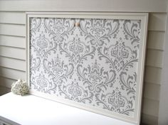 DAMASK BULLETIN BOARD - Framed Magnetic Memo Board - Deluxe Size with Handmade Frame and Gray Fabric - Message Board. $224.00, via Etsy.