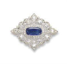 Belle Epoch sapphire and diamond brooch, set in platinum