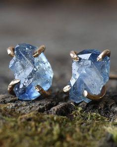 Raw Sapphire Stud Earrings