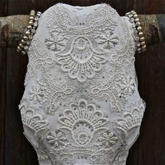 Lace and pearls - decorate a cow or deer skull