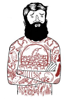bear, hipster, tattoo, illustration