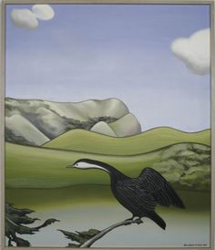 Framed oil on canvas of a shag on a branch, in a stylised New Zealand landscape of hills and bush at Bethell Homestead in Te Henga. Artist Painting, Painting & Drawing, Thinking In Pictures, Bird Artists, New Zealand Landscape, New Zealand Art, Nz Art, Kiwiana, Bird Pictures