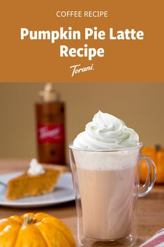 It's pumpkin season and this pumpkin pie latte is a great pumpkin inspired coffee recipe. This latte recipe uses Torani syrups and is easy to make at home. Grab our full pumpkin pie latte recipe here. Pumpkin Pie Latte Recipe, Sugar Free Pumpkin Pie, Pumpkin Spice Syrup, Pumpkin Recipes, Pumpkin Drinks, Pumpkin Smoothie, Pumpkin Dessert, Fall Dessert Recipes, Fall Recipes