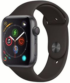 Apple - Apple Watch Series 4 (GPS + Cellular) Space Gray Aluminum Case with Black Sport Band - Space Gray Aluminum - Left_Zoom Smartwatch, Ios Apple, New Apple Watch, Apple Watch Series 2, Bluetooth, Sport Watches, Watches For Men, Mvmt Watches, Trendy Watches