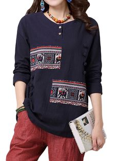 Sale 18% (25.87$) - Casual Women Ethnic Style Printing Patchwork Long Sleeve T-shirt
