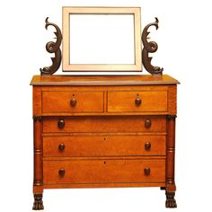 Classical Chest with Dressing Mirror, American, 1810 - 1820