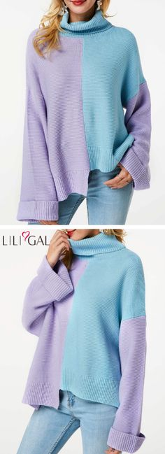 USD31.59 Long Sleeve Color Block Turtleneck Sweater  liligal  sweaters Cute  Fashion fb5143067