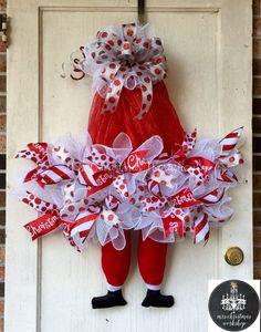Christmas wreath Santa Claus wreath with legs deco mesh wreath elf hat wreath