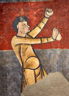 The Stoning of St. Stephen, circa-1100c. Church of Saint Joan Boi, Val de Boi Spain.National Art Museum of Catalonia Barcelona.  Circa 1100s  Fresco Transfer to canvas  From the Church of Saint Joan Boi, V...