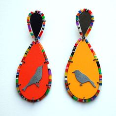 Rebecca Hannon 'Red and Orange' Earrings in silver and plastics.
