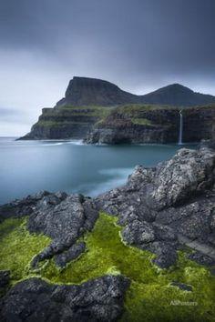 Dramatic Coastline and Waterfall at Gasadalur on the Island of Vagar, Faroe Islands. Spring Photographic Print