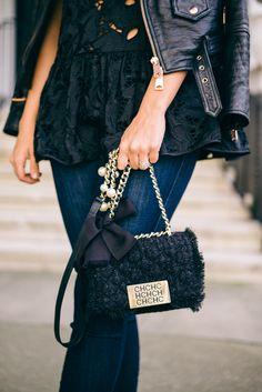 Black lace top with leather jacket. Carolina Herrera Handbags, Ch Carolina Herrera, Basic Outfits, Denim Outfits, Leather And Lace, Leather Jacket, Gal Meets Glam, Black Lace Tops, Crochet Handbags