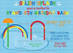 Splash Pad Birthday water birthday pool party printable