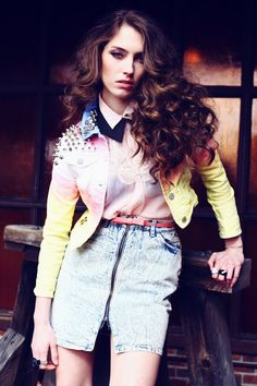 Studded Pastel Dye Denim Crop Jacket  Grunge Ombre Studs by debuts, $60.00
