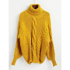 SheIn(sheinside) Cable Knit Turtleneck Sweater (34 CAD) ❤ liked on Polyvore featuring tops, sweaters, yellow, pullover sweater, cable turtleneck sweater, cable-knit sweater, yellow cable knit sweater and yellow sweater