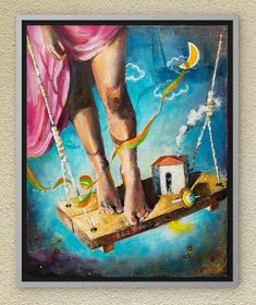 Stay up on the swing, swing like never before. Freedom is essential! Oil on canvas. Oil On Canvas, Canvas Wall Art, Night Skies, Childhood Memories, Fairy Tales, Freedom, Symbols, Paintings, Sky