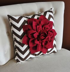 Cranberry Dahlia on Brown and Natural Zigzag Pillow -Chevron Pillow- Autumn Decor- Fall Decor. $35.00, via Etsy.