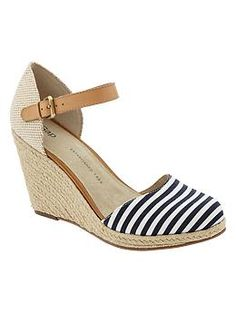 Stripe espadrille wedges, Navy Stripe