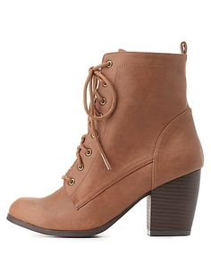 Qupid Lace-Up Chunky Heel Booties #charlotterusse #charlottelook