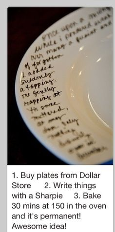 Photo description says it all...easy way to create lasting messages in ceramic. Wondering about doing this for a communion set, or a small group activity in response to message.
