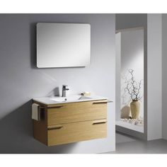 Moderna With Two Drawers | Best Value Bathroom Furniture in Ireland.  Contemporary wall hung vanity with soft close drawers.  Perfect for a medium to large sized bathroom.      Measurements  Description:  	Dimension (MM): Main Cabinet	820*470*495 Mirror	750*50*550