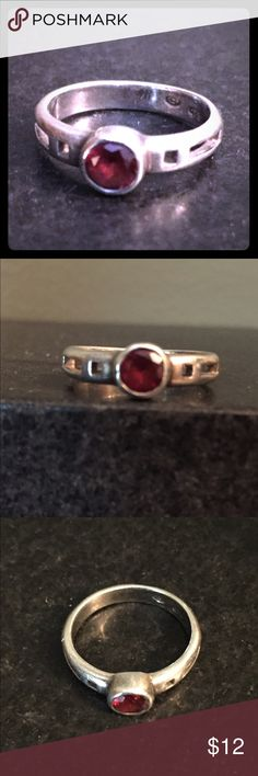 Sterling Silver Ring with Red stone Cute Sterling Silver Ring with 925 mark. Size 7 Jewelry Rings