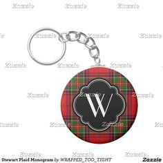 Stewart Plaid Monogram Keychain