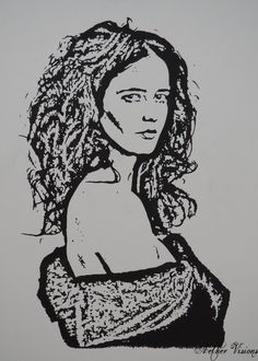 "Portfolio - Aether Visions ""Eva"" in black Chinese ink. Eva Green is one of the most amazing actresses right now, And her performance in Penny Dreadful is superb!"