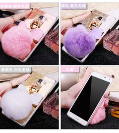 Diamond Bowknot Rabbit Fur Ball Mirror Case For Iphone 7 6S Plus 5S 4S Samsung Galaxy Note 7 5 4 3 S3/4/5 S7 S6 Edge Plus A5/7/8